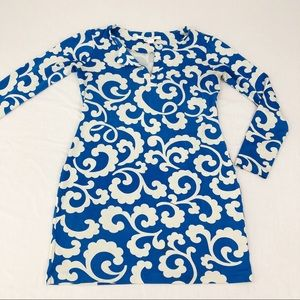 Blue & White Abstract Printed Dress, size 4